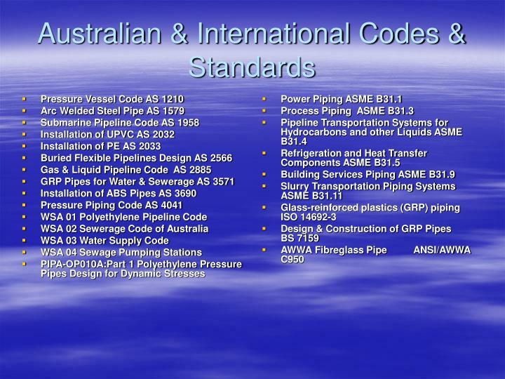 Australian international codes standards