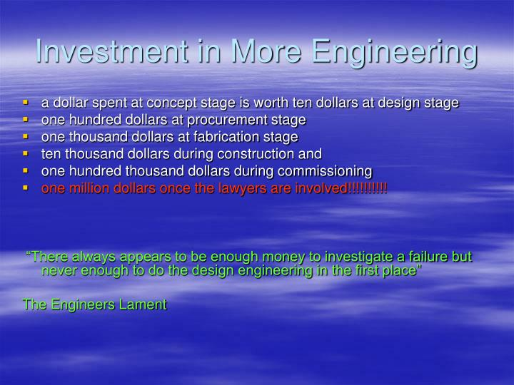 Investment in More Engineering