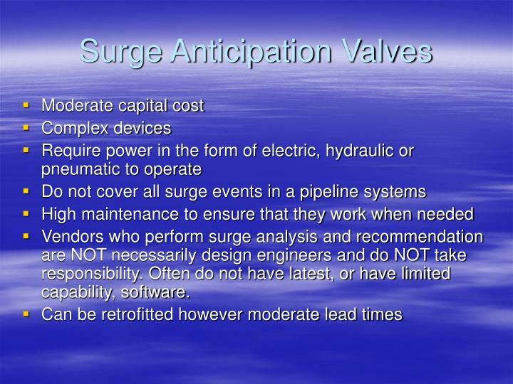Surge Anticipation Valves