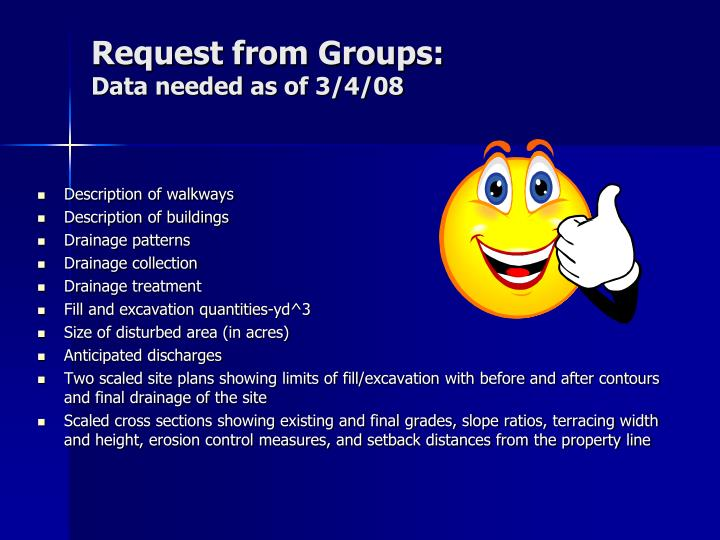 Request from Groups:
