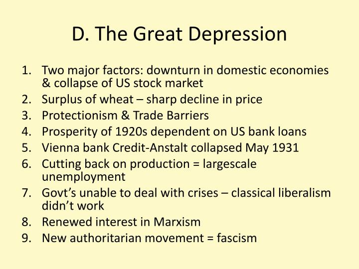 D. The Great Depression