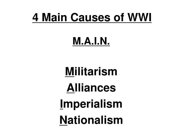 4 Main Causes of WWI