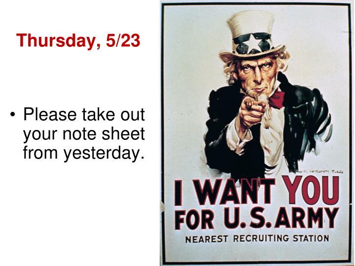 Thursday, 5/23
