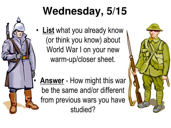 Wednesday, 5/15