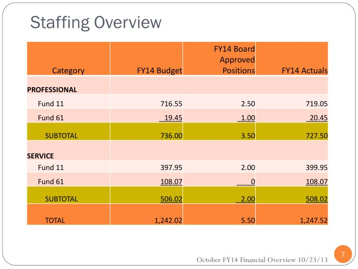 Staffing Overview