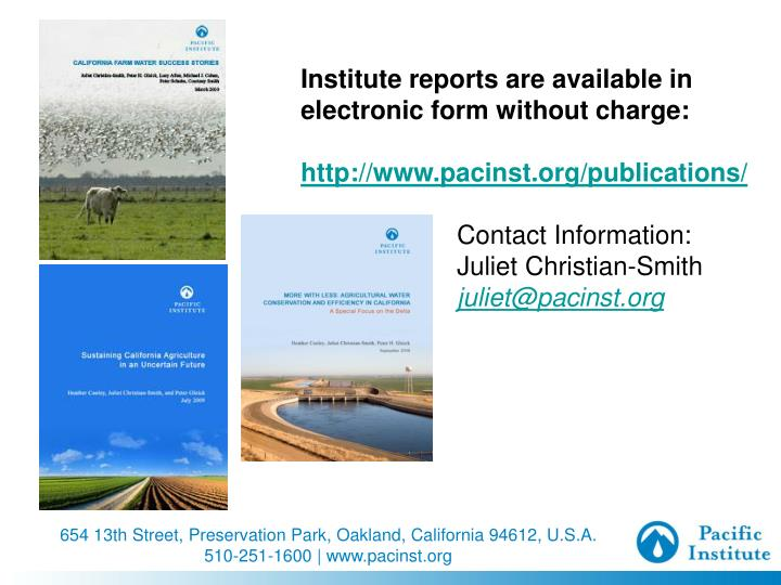 Institute reports are available in electronic form without charge: