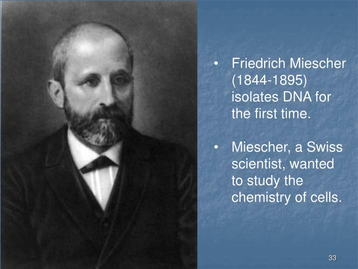 Friedrich Miescher (1844-1895) isolates DNA for the first time.