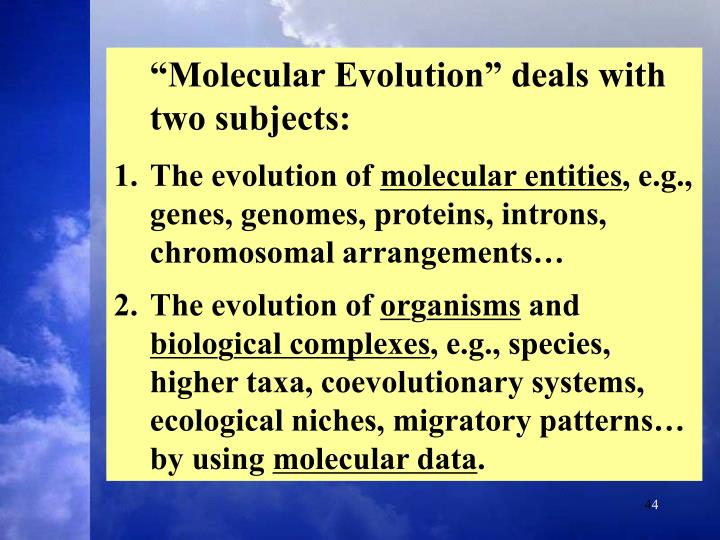 """""""Molecular Evolution"""" deals with two subjects:"""