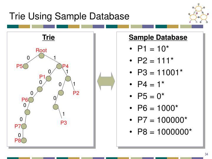 Trie Using Sample Database