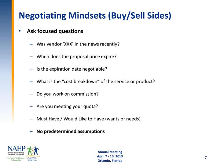 Negotiating Mindsets (Buy/Sell Sides)