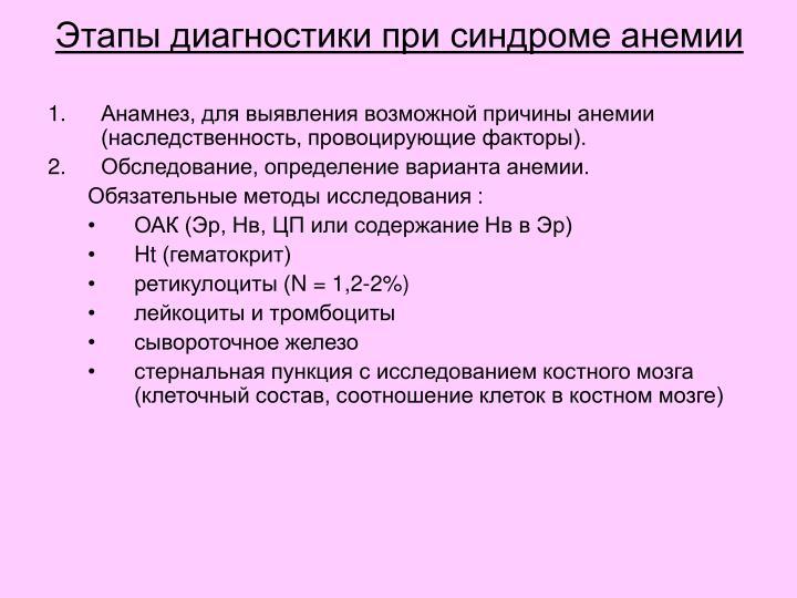 Этапы диагностики при синдроме анемии