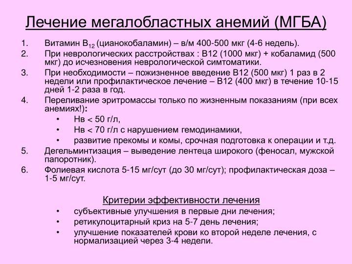 Лечение мегалобластных анемий (МГБА)