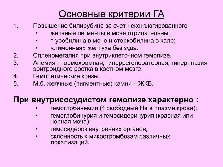 Основные критерии ГА