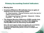 primary accounting control indicators