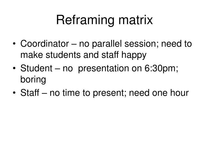 Reframing matrix