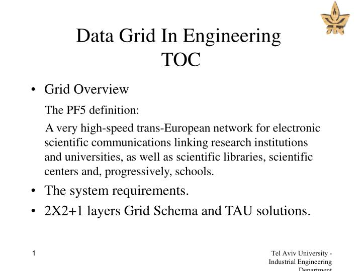 data grid in engineering toc