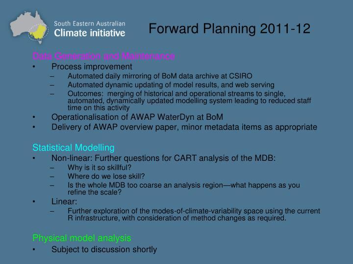 Forward Planning 2011-12