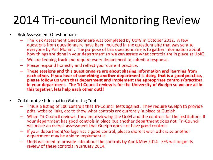 2014 tri council monitoring review