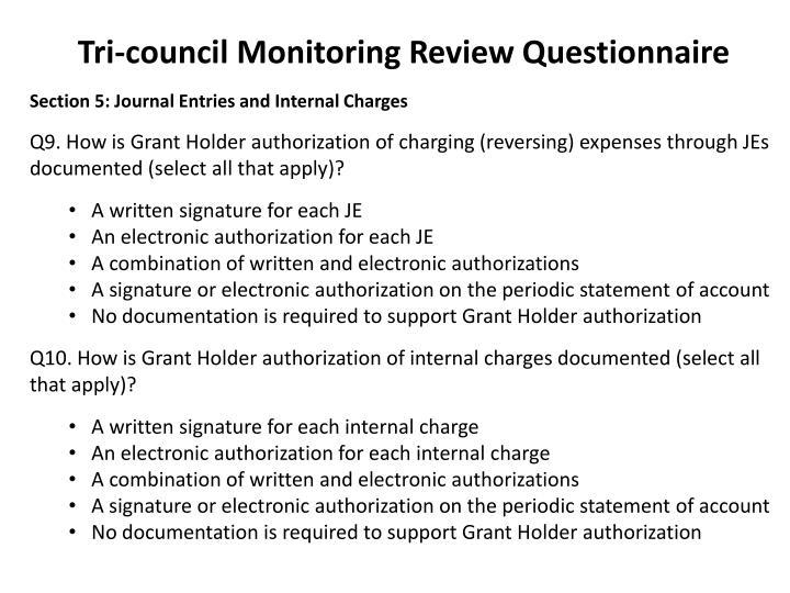 Tri-council Monitoring Review Questionnaire