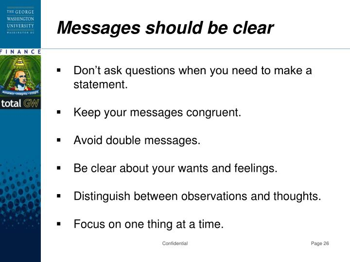 Messages should be clear