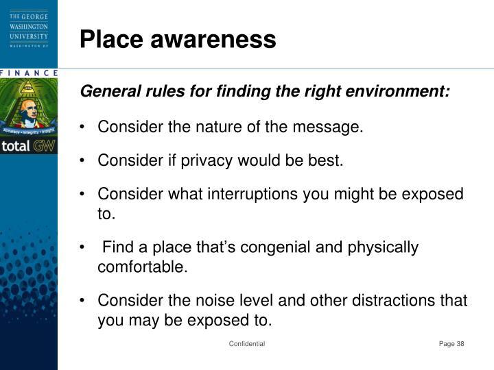 Place awareness