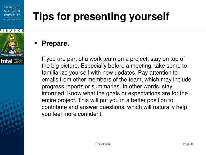 Tips for presenting yourself
