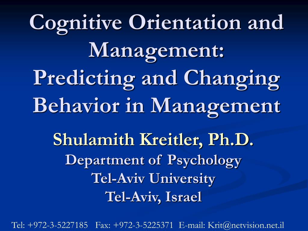 what is cognitive orientation