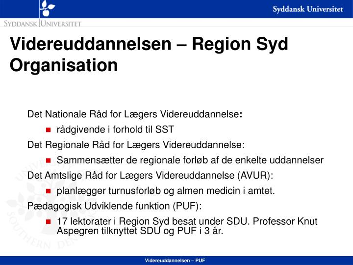 Videreuddannelsen region syd organisation