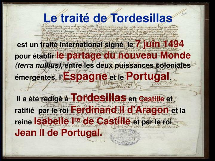 Le traité de Tordesillas