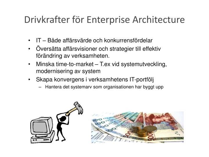 Drivkrafter för Enterprise Architecture