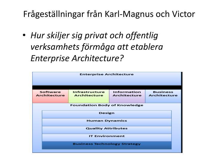 Frågeställningar från Karl-Magnus och Victor