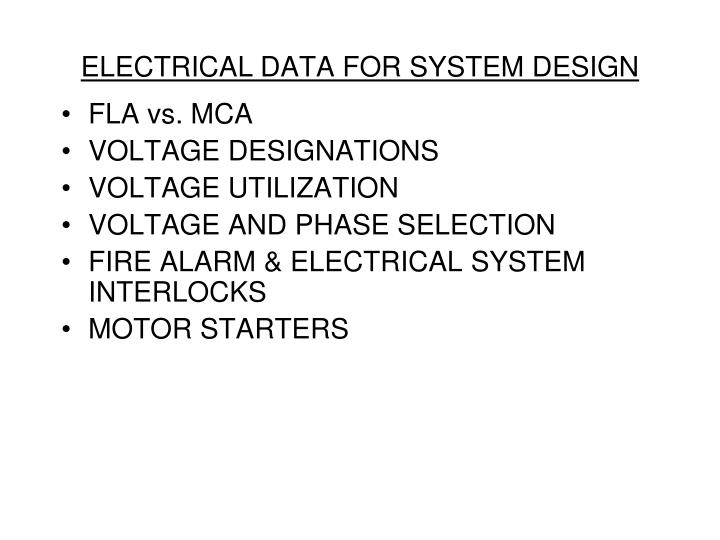 Electrical data for system design