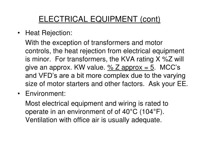 ELECTRICAL EQUIPMENT (cont)