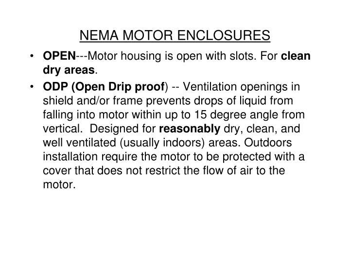 NEMA MOTOR ENCLOSURES