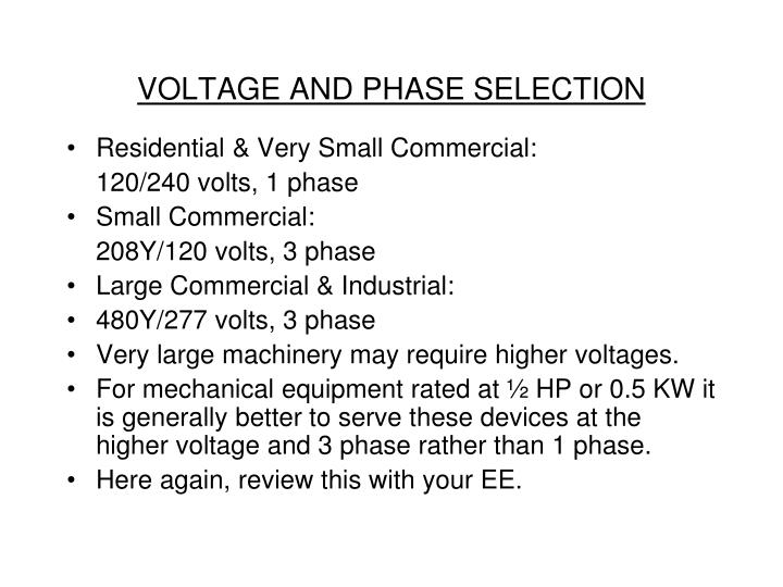 VOLTAGE AND PHASE SELECTION