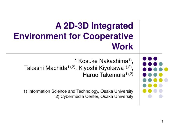 a 2d 3d integrated environment for cooperative work n.
