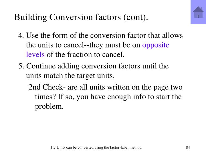 Building Conversion factors (cont).