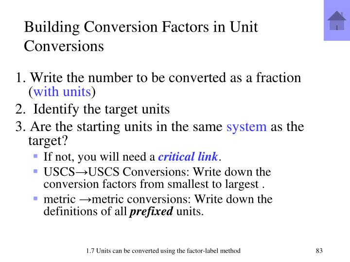 Building Conversion Factors in Unit Conversions
