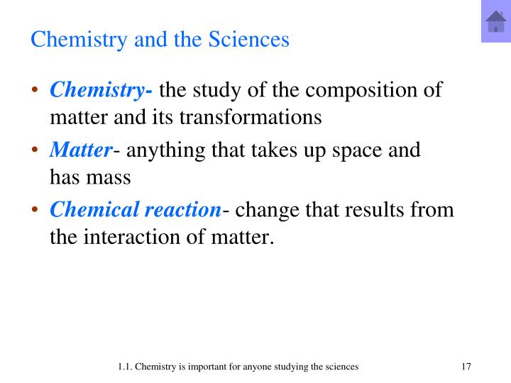 Chemistry and the Sciences