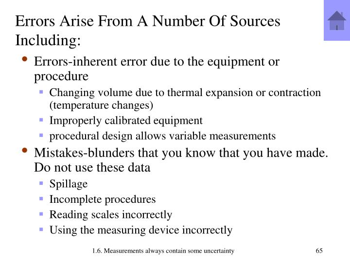 Errors Arise From A Number Of Sources Including: