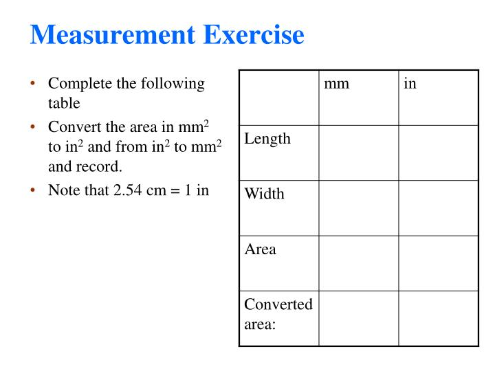 Measurement Exercise