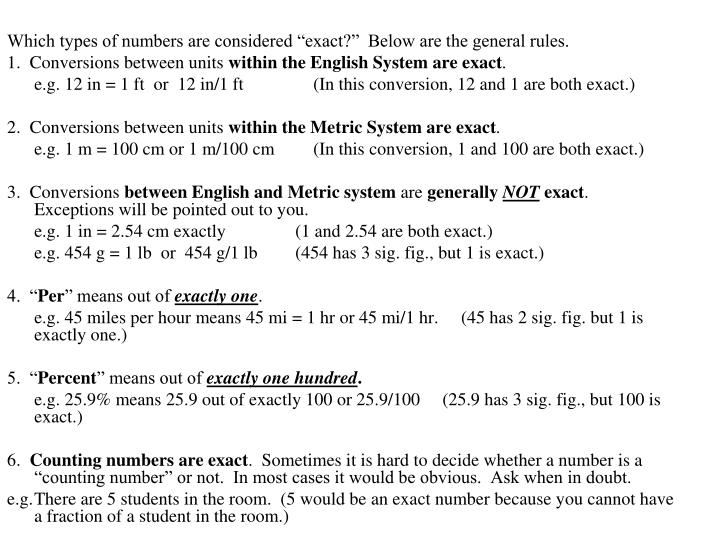 "Which types of numbers are considered ""exact?""  Below are the general rules."
