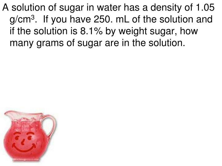 A solution of sugar in water has a density of 1.05 g/cm