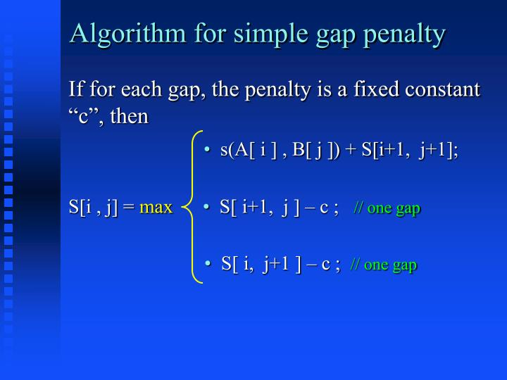 Algorithm for simple gap penalty