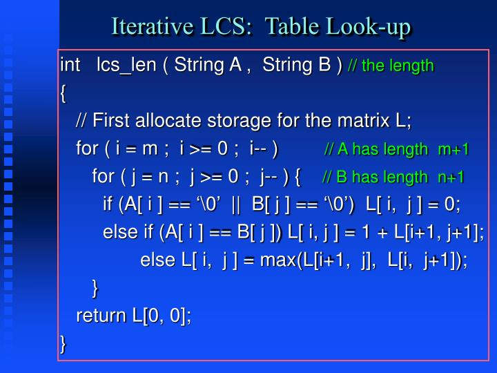 Iterative LCS:  Table Look-up