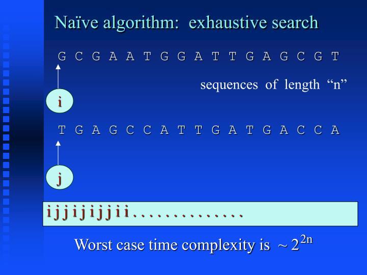 Naïve algorithm:  exhaustive search