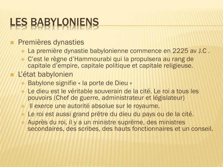 Premières dynasties