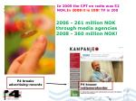 in 2005 the cpt on radio was 52 nok in 2008 it is 108 tv is 200