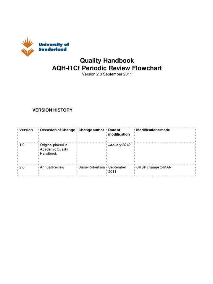 Quality handbook aqh i1cf periodic review flowchart version 2 0 september 2011