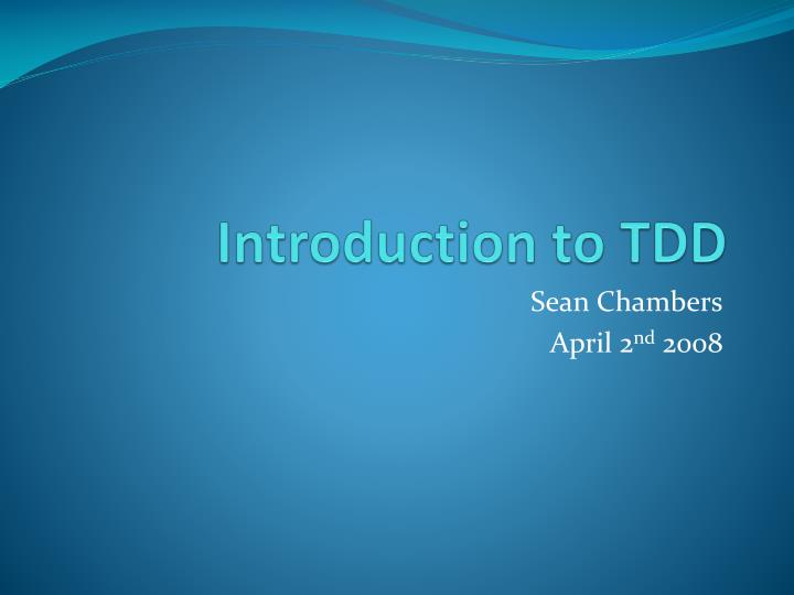 introduction to tdd n.